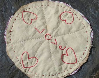 Hand Quilted, Hand Embroidered, Primitive, Aged, Accent Mat, Table Mat, Candle Mat, Rag Mat, Love, Hearts, One of a Kind, OFG