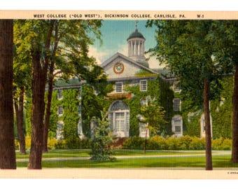 DICKINSON COLLEGE, West College, Dickinson College, Carlisle Pennsylvania Vintage Postcard
