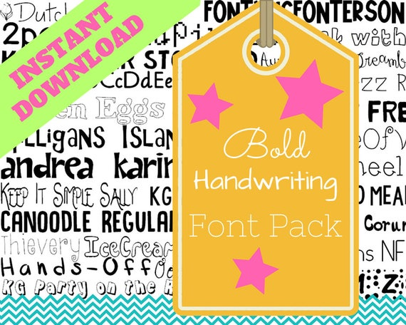 Download Bold Handwriting Font Pack Themed Computer .TTF Font Pack