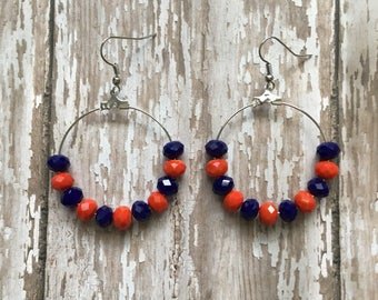 Orange and blue beaded hoop dangle earrings