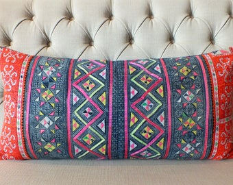 10 - DAY - SALE Bolster Cushions, 16x32, Pillow case, Vintage Hmong Batik Cotton cushion cover, Handprinted Fabric,Scatter cushions,