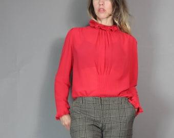 Vintage Ruffle Blouse Red Ladylike Sheer Pleated Baby Pleat Poet Blouse