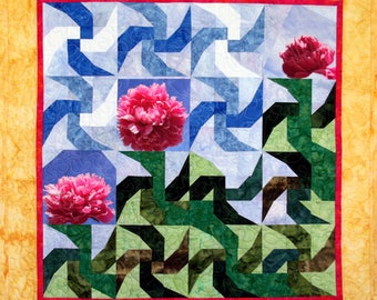 Art Quilt, Summer Peonies