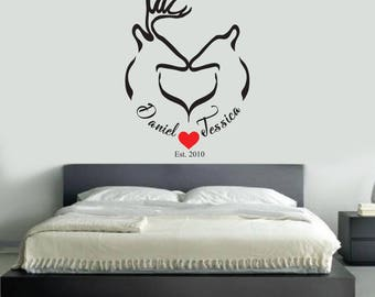 Her Buck His Doe V3 CUSTOMIZABLE name Wall Decals Living bedroom Art Decor Man Cave Hunting Rustic Decoration Wild Game Headboard Children