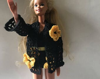 Private Listing for Toria-  Black Barbie Swimsuit & Coverup with Yellow Moonflowers