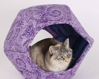 Summer Sale Purple paisley cat cave, a cat bed with two openings - the hexagonal Cat Ball kitty bed is a modern pet bed design