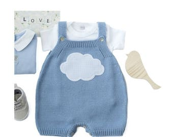 ON SALE Knitted baby overalls, knitted baby romper, baby outfit, knitted overalls, baby gift, knit baby jumpsuit, baby clothes, 100% cotton.