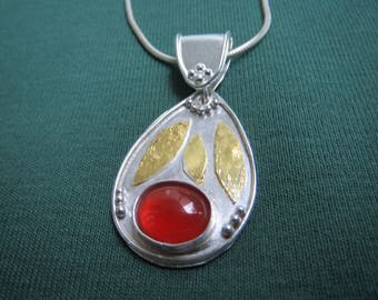 Carnelian and Gold in Granulated Argentium Sterling Pendant with Bail