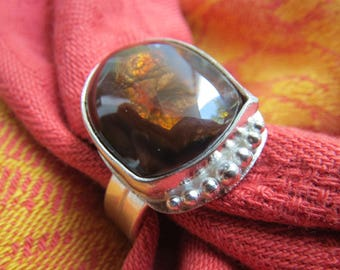 Mexican Fire Agate Free Form in Argentium Sterling Ring Size 11 & a Half