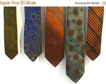 ON SALE Vintage retro 1960's designer men's ties, silk ties, thin ties