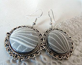 Gray fabric earrings