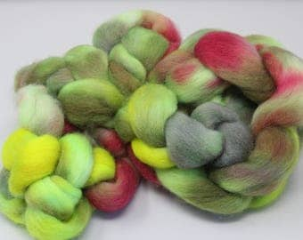 Yellow, Pink, and Greens on Romney Roving 8 oz Handpainted