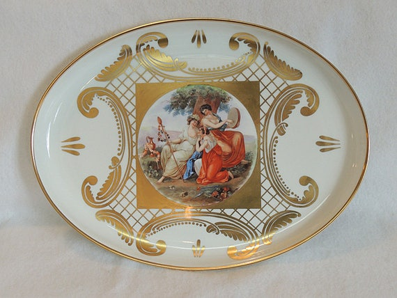 """Antique Early Schonwald Beehive Porcelain 12"""" x 16"""" Portrait Tray.. Germany.. Very Rare Estate Piece"""