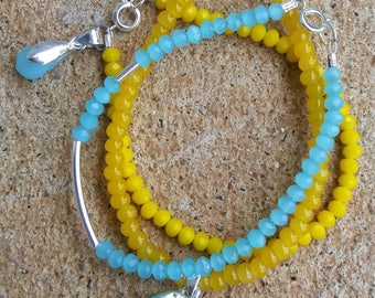 Yellow, Blue, and Silver Trio Bracelet Set