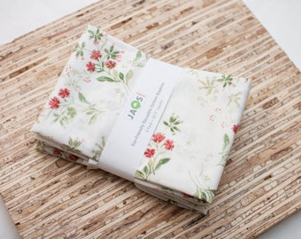 Large Cloth Napkins - Set of 4 - (N3998) - White Delicate Flowers Modern Reusable Fabric Napkins