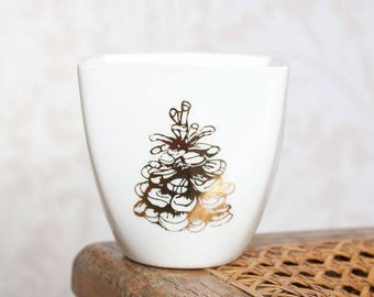 Gold Pine Cone Mug, Ceramic Mug, Handmade Mug with Genuine Gold