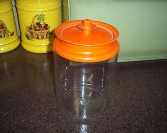 Vintage 1980s Tupperware Large Acrylic Canister Ultra Clear Series Counterparts with orange lid
