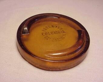 Pat'd Dec. 29th 1896 Columbia Half Pint Canning Fruit Jar Amber Glass Lid Cover, Johnson & Johnson Fruit Jar No. 2