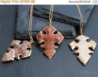 40 OFF - Jasper Stone Cross Pendant - Arrowhead Necklace - Celtic Cross - Layering Necklace - Bohemian Necklace - Boho Hippie Chic Necklace