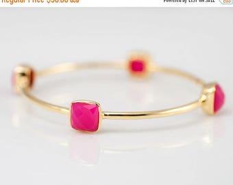 40 OFF - Bangle - Fuchsia Pink Chalcedony Bracelet - Gemstone Bangles - Bezel Set Bangles - Gold Bracelets