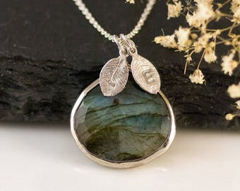 Labradorite Necklace Sterling Silver, Natural Gemstone Pendant, Personalized Initial Necklace, Best Friend Gifts, Handmade Jewelry, Present