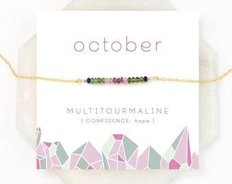 October Birthstone, Multi Tourmaline Minimal Necklace, Gift for Her, Hope Jewelry, Watermelon Tourmaline, Ombre Jewelry, Dainty Gemstone Bar
