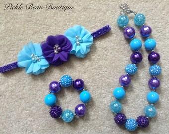 Purple Turquoise Blue Bubblegum Necklace Bracelet Headband, Chunky Baby Necklace, Girls Kids Necklace, Bubble Gum, 1st Birthday Outfit