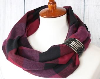 Flannel Infinity Scarf for Women - Fall Scarf - Womens Scarves - Flannel Scarf - Sugar Creek Mittens - Purple & Black Plaid Infinity Scarf