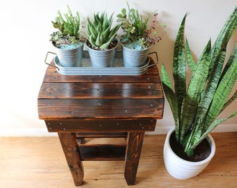 Small rustic wood side table, end table, plant stand - stained dark honey and selaed with poly