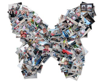 Personalized High-Res Butterfly Collage   Poster   Your Images in a Butterfly Shape   Digital Download   Gift   Photo Collage