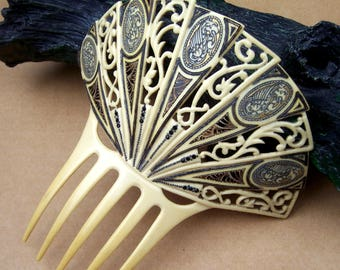French Ivory Art Deco hair comb Spanish style hair accessory headdress headpiece decorative comb hair ornament