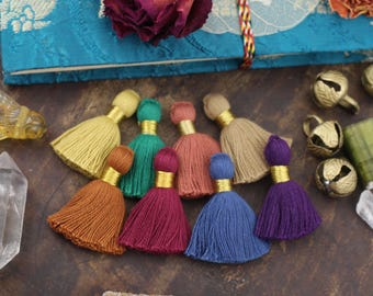 "Fall Favorites Mix Mini Tassels with Gold Binding, Blue, Purple, Green, Blue, Mustard, Merlot, Handmade Jewelry Making Supply 1.25"", 8 pcs."
