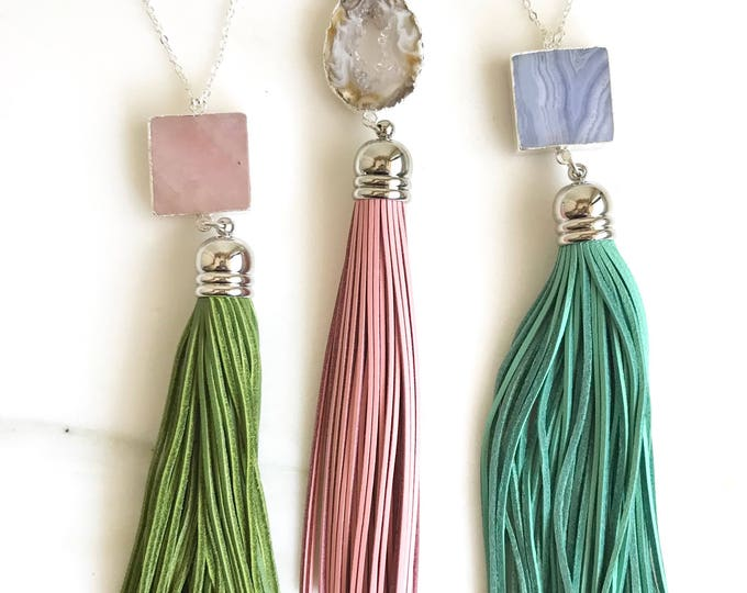 Tassel Necklace. Leather Tassel Necklace. Turquoise Pink Aqua Tassel Necklace. Long Silver Tassel Necklace. Boho Tassel Jewelry. Gift.