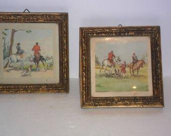 2 antique frames of wood and gold leaf.