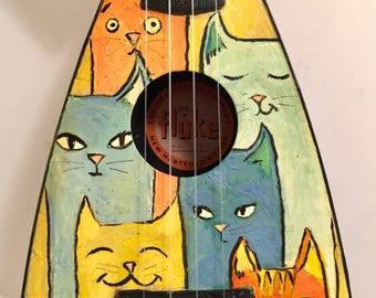 Fluke Ukulele with Painted Practical Cats UKELELE Uke