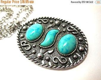 SALE Silver and Faux Turquoise Pendant Necklace Sarah Cov Mod Boho