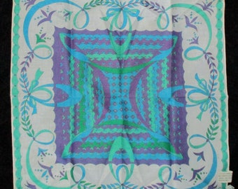 """Vintage Scarf, Emilio Pucci, Cotton Scarf, Made in Italy, 17"""" Square, Turquoise, Green, Purple, White, Summer Scarf, Handkerchief"""