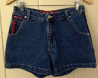 Vintage 90s B.U.M. Equipment Shorts/ High Waisted Shorts/ Womens Shorts