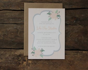Blush and Gray Floral, Baptism Invitations, Simple, Neutral, Elegant, Stripes, Garden Party Baby Blessing
