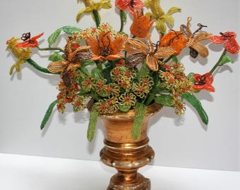 Vintage Handmade French Beadwork Floral Bouquet in Vase Beaded Flowers Tulips, Irises, Daffodils