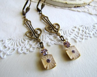Vintage Camphor Glass Earrings 1920's Earrings Art Nouveau Earrings Art Deco Earrings Vintage Earrings Lavender Earrings Delicate Earrings