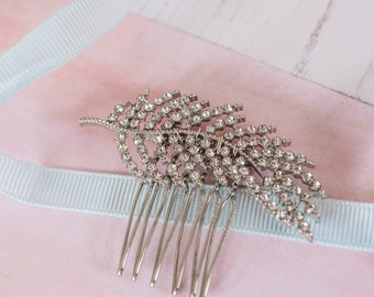 Feather Bridal Comb, Rhinestone Feather Comb, Wedding Comb, Bridal Accessories, Crystal Feather Comb, Bridal Hair Comb, Feather Hair Pin
