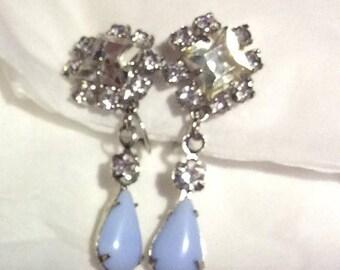 SPECIAL Vintage Blue Cabochon crystal Rhinestones Clip Dangling Earrings
