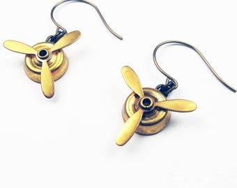 Airplane Jewelry - Brass Propeller Earrings for World Traveler, Aviator, Flight Attendant, or Pilot