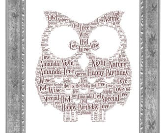 Owl Personalised Word Art Print Christmas Birthday Fathers Day Perfect Gift Present
