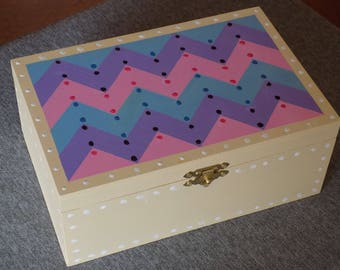 clearance priced - Chevron Quilt Theme Design Hand Painted Box