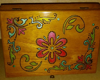Vintage Cigar Box with Woodburned flower design