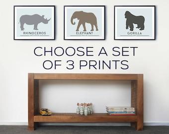 Animal Wall Art Prints for Toddlers Room – Set of three prints, Kids room decor, Safari animals, Nursery sea animal art, Farm animals