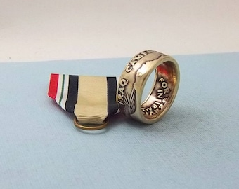 Ring for the Iraq Veteran. Iraq Campaign medal turned into a size 10  ring.  A Unique gift
