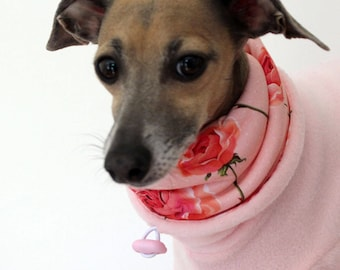 Made to order Italian Greyhound Baby Pink Jammies with Rose Print jersey lined Snood/Neck Warmer - see item details